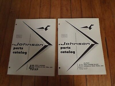 Vintage 1960 Johnson Outboard Motor 40 Hp Parts Catalog Sea-Horse Models-Rd-Rds