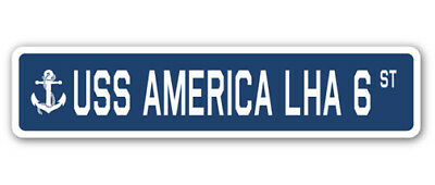 "USS America Lha 6 Street [3 Pack] of Vinyl Decal Stickers 1.5"" X 7"""