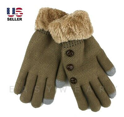 Womens Winter Knited Thick Fur Lined Warm Soft Touch Screen Phone Outdoor Gloves