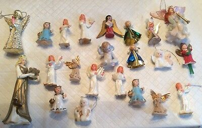 Vtg Lot Of 22 Christmas Angel Ornaments Mid Century Plastic Wood Chalk Resin
