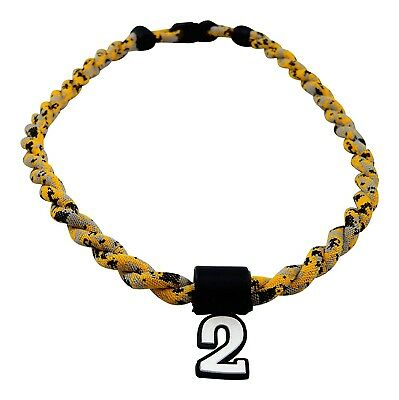 (Yellow Digi Camo) - Pick Your Number - Twisted Titanium Sports Tornado Necklace