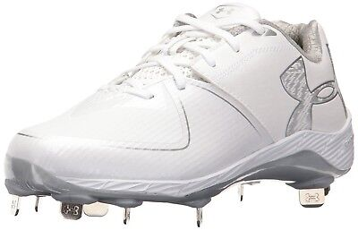 (10.5 Medium US, White/White) - Under Armour Women's Glyde 2.0 ST Softball