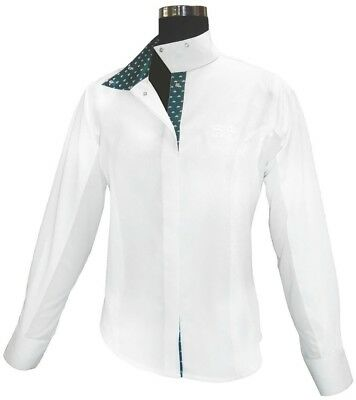 (38, White) - Equine Couture Ladies Hunter Show Shirt. Delivery is Free