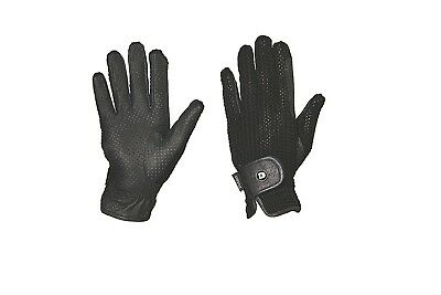(Large, Black/Black) - Dublin Cool Crochet Riding Gloves. Free Delivery
