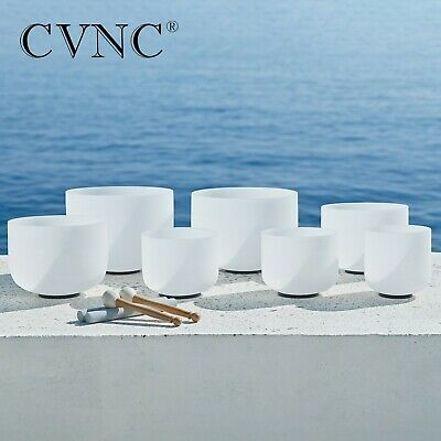 """7pcs 8""""-14"""" Chakra Tuned Set of Frosted Quartz Crystal Singing Bowl for Healing"""