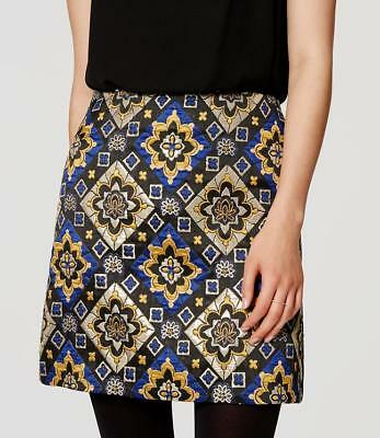 LOFT by Ann Taylor  Shimmer Mosaic Skirt   Black, Blue, Yellow, Gold Size 12 (I)