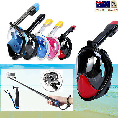 Full Face Snorkeling Snorkel Mask Diving Breather Goggles+Selfie Stick For Gopro