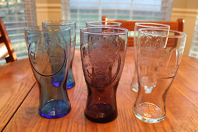 6 McDonalds Collectible Glasses 1961 Blue 1955 Purple 1992 Clear