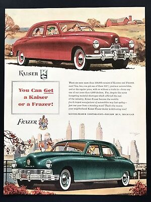 1947 Vintage Print Ad FRAZIER Green Red Car Illustration Art 40's Style