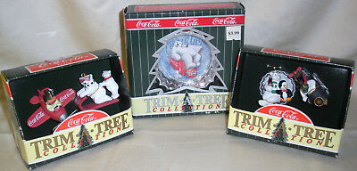 Vintage Lot of 3 ~ COCA COLA TRIM A TREE COLLECTIBLE MINI ORNAMENTS ~ NIBs