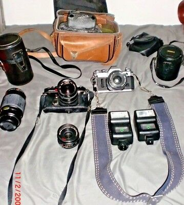 Lot of Two Vintage Camera's Canon AE1 & Konica Autoflex TC with Accessories