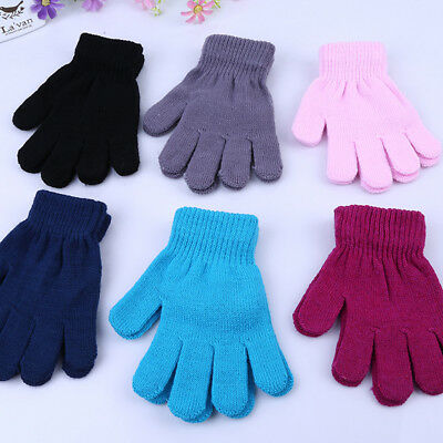 Children Kid Gloves Stretchy Knit Mittens Winter Boys Girls Children Plain Solid