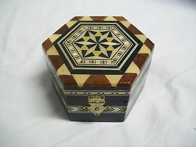 Vintage Hand made Wood Inlaid Hexagon Trinket Box Signed Made in Spain