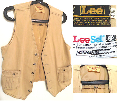 70s Mens Vintage Pocketed Vest with Pockets Made in the USA by LEE Size 40R FEZ