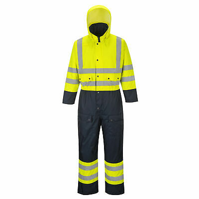 Hi-Vis Yellow/Navy Lined Waterproof Coverall ANSI Class 3, Portwest US485