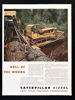 1947 Vintage Print Ad CATERPILLAR DIESEL Tractor Clearing Tree Image Yellow