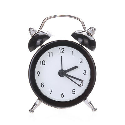 Twin Bell Silent Alloy Stainless Metal Alarm Clock Night light Student Traval