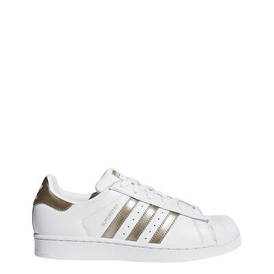 New Adidas Women Originals Superstar Shoes [Cg5463]  White/cyber Metallic (Gold)