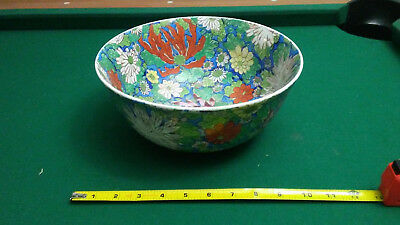 Vintage Hand-Painted Chinese Porcelain Bowl Made In Macau Flowers Design