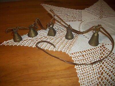 """FREE SHIPPING Lot of 5 Vintage Etched Brass Bells of India on 40"""" Leather strap"""