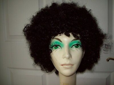 curly black afro disco wig adult costume halloween party 60s 70s disco ages 13