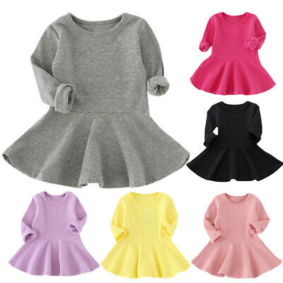 Baby Girls Cotton Candy Color Long Sleeve Solid Princess Toddler Kids Tutu Dress