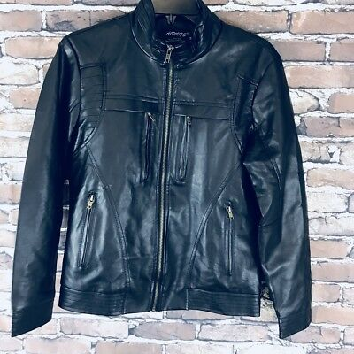 AOWOFS Men's Black Motorcycle Jacket Size Medium New With Out Tags