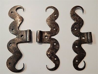 Rare Lot of 3 French Wrought Iron Hinges, Windows,Castle 18-19th Century,Forged