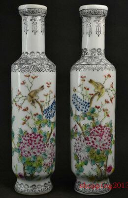 A Pair Exquisite Chinese Porcelain Handmade Flower & Bird Vase