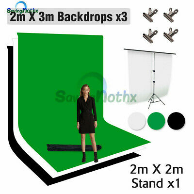 Photography Video Black White Backdrop+T Stand Photo Studio Background Support