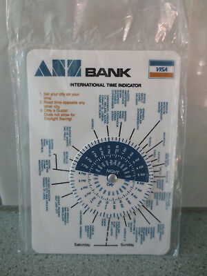 1970's ANZ Bank International Time Indicator Card & Commonly Used Conversions