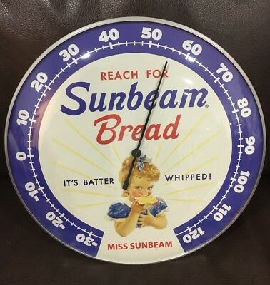 "Sunbeam Bread Thermometer 12"" Round Man Cave Garage Glass Front"