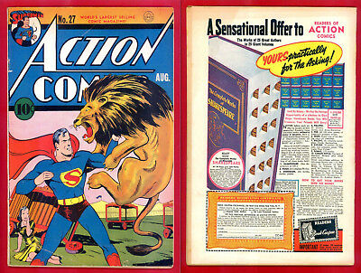 Action Comics # 27 featuring Superman – DC Comics August 1940.