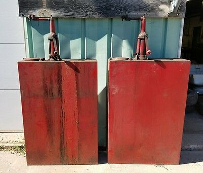 TWO Vintage Bennett Lubesters Oil Pumps Dispenser Gas Station SHIPPING INCLUDED