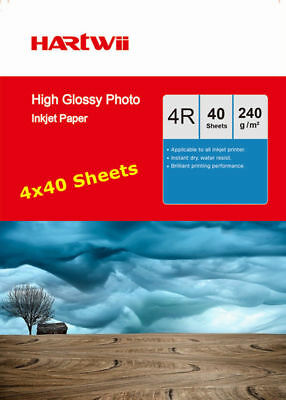4x6 230 240 Gsm High Glossy Photo Inkjet Paper 102x152mm 6x4 Hartwii - 160Sheets