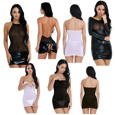 Sexy Women's Mesh Lingerie Wet Look Club Wear Babydoll Shiny Leather Mini Dress