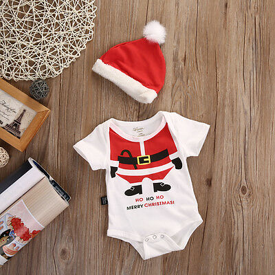 Christmas Clothes Newborn Baby Girl Boy Romper+Hat Outfits Santa Claus Costume