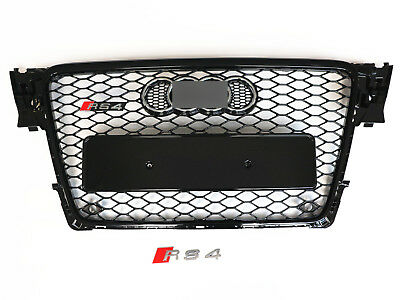 2009-2012 Audi A4 S4 B8 8T RS4 Style Honeycomb Mesh Hex Grille Gloss Black