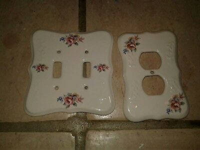 Vintage TH Athena USA Porcelain Double Switch Cover & Outlet cover Rose Flower