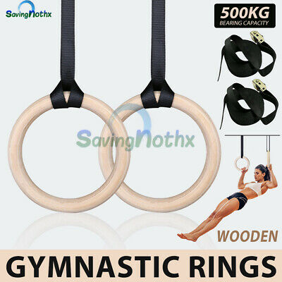 Wooden Gymnastic Olympic Rings Strap Crossfit Gym Fitness Strength Training RING