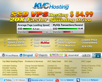 Web Hosting SSD VPS - 8GB RAM & 120GB SPACE PURE SSD - 80% OFF First Month