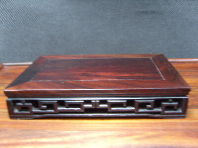 Old  japanese Rosewood Hard Wood Carved Carving Vase Statue Stand        6