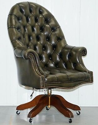 Stunning Chesterfield Directors Green Leather Executive Captains Office Chair