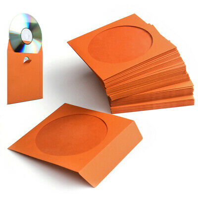 100 Pack CD DVD Thick Paper Sleeves Envelope Case with Window Cut Flap in Orange