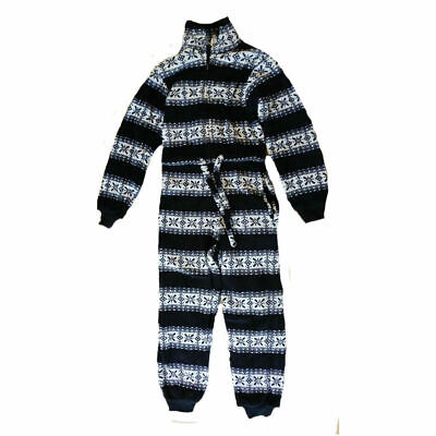 Girls Nordic Design Navy White Soft Fleece All In One Pyjamas 7/8 9/11 years