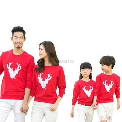 US Family Matching Christmas Pullover Hoodies Womens Men Kid Xmas Sweater Tops