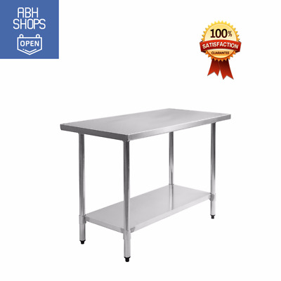 """30"""" x 48"""" Stainless Steel Commercial Kitchen Food Prep Table Silver High Quality"""