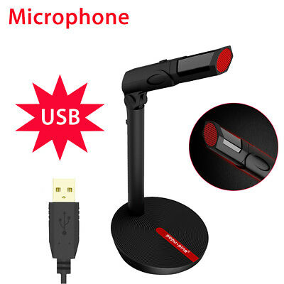 Omnidirectional Home Studio Recording USB Condenser Microphone with Stand Black