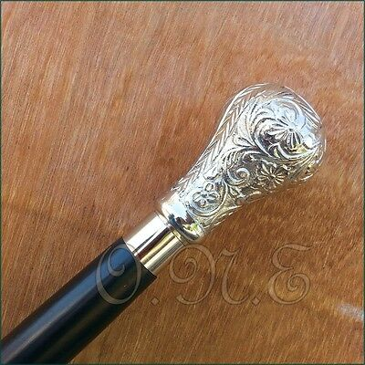 Design Handle Antique Solid Silver Brass Walking Stick Gift For Man Solid Cane