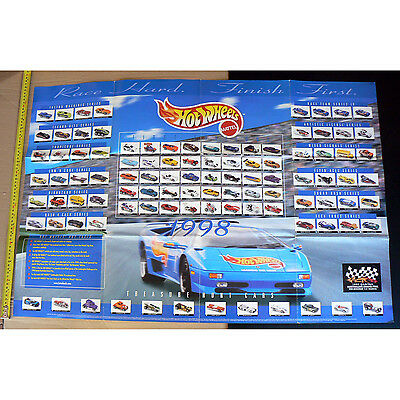 1998 Mattel Hot Wheels Poster collector cars issued that year 100 cm x 66 cm